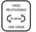 Vaso reutilizable UNE 53928